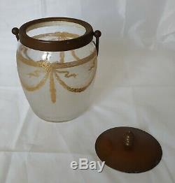 Seau à biscuit en cristal SAINT LOUIS Décor doré à l'or Empire gravé à l'acide
