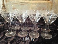 Serie De 8 Verres A Vin Blanc Cristal St Louis Art Deco