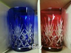 Serie De Gobelets En Cristal Couleur Signé Saint Louis Modele Massenet 10cm