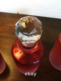 Série de 3 Flacons de toilette SAINT-LOUIS 1900 Cristal rose givré