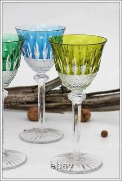 Série de 6 verres à vin du Rhin (Roemer) en cristal de St Louis modèle Tommy