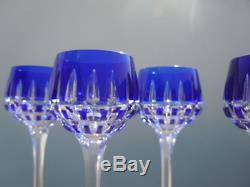 Serie verres cristal taillé Saint louis France verre cristal couleur bleu
