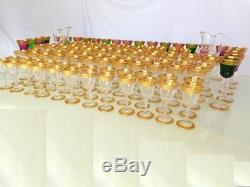 Service 120 verres Roemers Saint St Louis Cristal Thistle Or signé parfait état