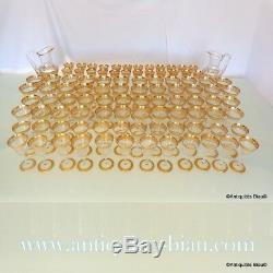 Service 96 verre Saint St Louis Cristal Thistle Or signé parfait état