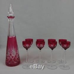 Service à liqueur cristal taillé doublé Saint-Louis Massenet 8 verres + carafe