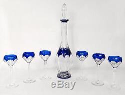 Service à porto 6 verres carafe vin cristal taillé Saint-Louis cobalt XXème