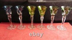 Service de 6 verres à liqueur de couleur en cristal Saint Louis modèle Camargue