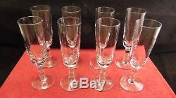 Service de 8 flutes à champagne cristal St Saint Louis modèle Marie Antoinette