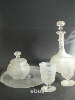 Service de nuit Verre d'eau Napoléon III -Cristal et Monogrammé Saint Louis