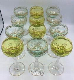 Service douze verres à vin roemer cristal taillé gravé doré Saint-Louis Micado