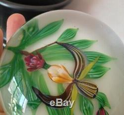 Sulfure Presse Papier Cristal Saint Louis numéroté 83/400, SL 1990 Orchidée