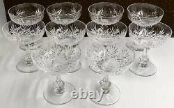 Superbe Service 10 Coupes Champagne Cristal Taillé SAINT-LOUIS XIX 1900 MASSENET