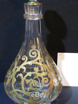 Superbe carafe cristal st louis service cluny dore or fin bouchon 32 cm