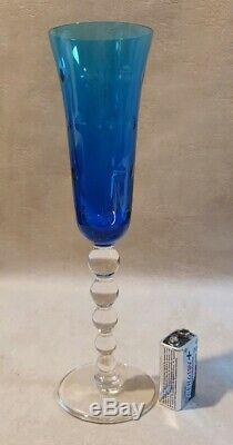 Superbe grande Flûte champagne Bubble cristal Saint Louis état neuf bleu saphir