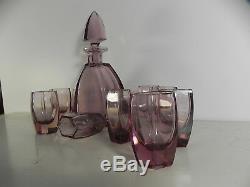 Superbe service à liqueur art-deco cristal amethyste violine Baccarat st-louis