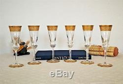 Thistle cristal Saint Louis. 8 flûtes à champagne. Verres/crystal/Gold