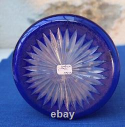 V43 RARE Ancien Narguilé Cristal Doublé Bleu Taillé St Louis Baccarat Etoile XIX