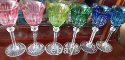 VERRES EN CRISTAL DE SAINT-LOUIS TOMMY lot de 6 couleurs différentes