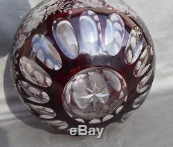 Vase Boule En Cristal Overlay Taillé De Saint Louis Rouge RUBIS