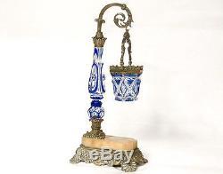 Veilleuse lampe cristal taillé Saint-Louis bronze marbre Napoléon III XIXè