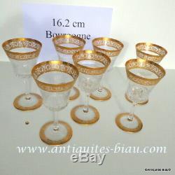 Verre Bourgogne pied ajouré 162m Saint St Louis Cristal Thistle Or signé parfait