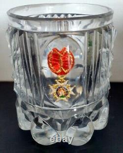 Verre gobelet début XIXème cristal Croix de l'ordre de Saint Louis Charles X