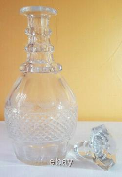 XIXe Ancienne Carafe Cristal Saint Louis modèle Trianon + Bouchon 27 cm Vin Eau